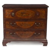 A 19TH CENTURY MAHOGANY AND SATINWOOD INLAID SECRETAIRE CHEST with marquetry inlaid decoration,