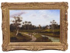 A COUNTRY SCENE with shepherds by a river, oil on canvas, indistinctly signed, 39cm x 58cm,