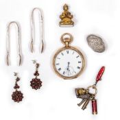 A GOLD PLATED POCKET WATCH a pair of silver 'toy' sugar tongs, a pair of 19th Century earrings,