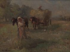 TWO 19TH CENTURY COUNTRY SCENES a gypsy caravan and a hay cart, oil on canvas, indistinctly