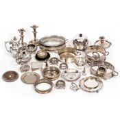 A COLLECTION OF ANTIQUE AND LATER SILVER PLATED WARES to include a muffin dish, a pair of