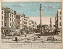 AN 18TH CENTURY HAND COLOURED ENGRAVING View of the monument erected in memory of the fire in the