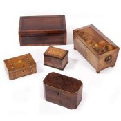 A 19TH CENTURY WALNUT AND MARQUETRY TEA CADDY of sarcophagus form, with ring handles and brass