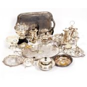A MIXED COLLECTION OF ANTIQUE AND LATER SILVER PLATED WARES to include rose bowls, an entree dish,