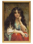 A PAIR OF PRINTS DEPICTING MAIDENS each 39cm x 25cm, framed and glazed Condition: in good condition,