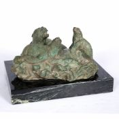 A 20TH/21ST CENTURY THREE SEALS RESTING ON A ROCK bronze, unsigned, mounted on a marble plinth,
