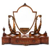 A 19TH CENTURY SATINWOOD DRESSING TABLE MIRROR with urn finials, three drawers, bracket feet and