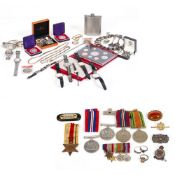 A COLLECTION OF COSTUME JEWELLERY cufflinks, World War II medals and wristwatches At present,