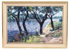 DAVID WILSON (1919-2013) Rio Terra Nova Barano, canal scene, oil on canvas, 75cm x 101cm, signed and