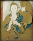 EDITH SIMON (1917-2003) A pair of half length portraits, one of a gentleman, the other of a lady,