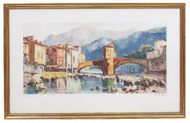 THREE PRINTS two coloured lithographs of canal scenes and a French alpine river scene, all signed by