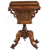 A VICTORIAN WALNUT SEWING TABLE 48cm wide x 39cm deep x 71cm high Condition: veneer lifting on