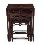 A LATE 19TH/ EARLY 20TH CENTURY CHINESE QUARTETTO OF HARDWOOD TABLES the largest is 54cm wide x 39cm