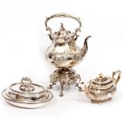A VICTORIAN SILVER PLATED KETTLE ON STAND ornate engraved decoration, 28cm x 45cm; a Victorian