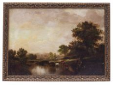 A PAIR OF ANTIQUE OIL ON BOARD PAINTING depicting river scenes, each 24cm x 34cm and mounted in gilt