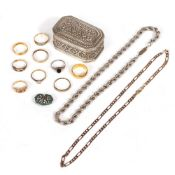 A MIXED GROUP OF SILVER to include two 22 carat gold wedding bands, seven further rings, a yellow