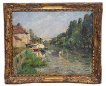 JAN DIERCKX (1949) Le Loing A Moret, oil on board, signed lower right, 31cm x 39cm, mounted in a