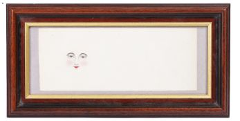 A LATE 19TH / EARLY 20TH CENTURY FACE PENCIL AND WATER COLOUR 24cm x 9cm, framed and glazed At