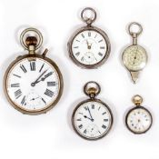TWO SILVER POCKET WATCHES marks for Birmingham 1941 and 1903, a further larger pocket watch and a