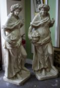 TWO VICTORIAN PLASTER STATUES depicting flora, each on square bases, 50cm wide x 145cm high