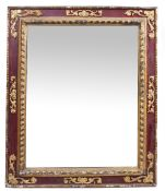 A 19TH CENTURY GILDED GESSO RECTANGULAR FRAME mounted with a later mirror plate, 128cm x 151cm Ex