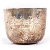 A SILVER BEAKER engraved to the exterior and interior lined with silver gilt, marks for London 1988,