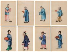A SET OF EIGHT CHINESE PITH PAINTINGS depicting figures, each 8.5cm x 5.5cm, framed as four pairs (