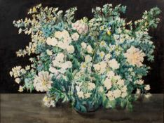 ENGLISH SCHOOL (EARLY 20TH CENTURY) Still life of a bowl of summer flowers, watercolour, 55cm x 73.