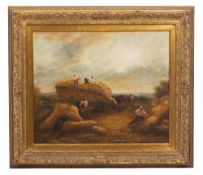 A MODERN OIL PAINTING depicting the hay harvest, mounted in a gilded frame, 59cm x 90cm and a