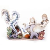 LLADRO 'UNDERWATER JOURNEY' signed by the artist and numbered 353/1000, 46cm in length x 29cm high