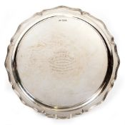 A SILVER SALVER by Walker & Hall with marks for Sheffield 1944 having a personal inscription, 35cm