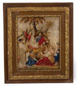 A 19TH CENTURY BERLIN NEEDLEWORK PICTURE 39cm x 50cm mounted in a gilded oak frame, 65cm x 76cm