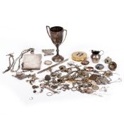 A QUANTITY OF SILVER ITEMS TO INCLUDE A SILVER TWIN HANDLED CUP silver buckles, chains, tops,
