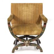 ONE SAVONAROLA CHAIR with upholstered seat and arms, frame with hand painted flower decoration and