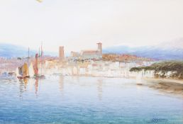 JOHN SHAPLAND (1865-1929) Cannes, watercolour on paper, 18.5cm x 28cm Condition: painting good