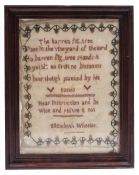A 19TH CENTURY SAMPLER worked by Elizabeth Wheeler, 20cm x 15cm Condition: discolouration, several