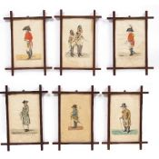 SIX 19TH CENTURY HAND COLOURED PRINTS depicting noblemen after R Dighton, glazed and mounted in