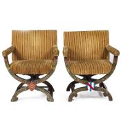 TWO SAVONAROLA CHAIRS with upholstered seats and arms, frames with hand painted flower decoration