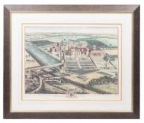 SIX LARGE REPRODUCTION PRINTS of English estates, mounted in large glazed and stained pine frames,