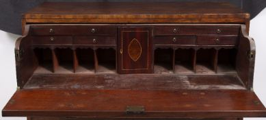 A 19TH CENTURY MAHOGANY SECRETAIRE CHEST with brass handles and ogee bracket feet, 107cm wide x 54cm
