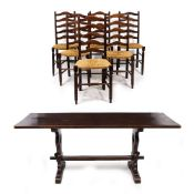 A SET OF SIX OAK LADDER BACK DINING CHAIRS with woven seats, 43cm wide x 99cm high together with an
