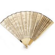 A 19TH CENTURY FRENCH BONE AND PAPER FAN with hand written dances to include 'La Penelope', 'La