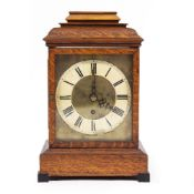 A LATE 19TH CENTURY OAK CASED BRACKET CLOCK with caddy top above a brass dial and single keyhole