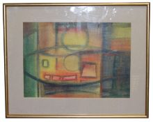 KATHLEEN BELL Abstract watercolour, signed lower right, 24cm x 33cm, framed and glazed, 38cm x