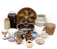 A COLLECTION OF POTTERY to include an Aldermaston goblet, 9cm diameter x 13cm high; a Shelley