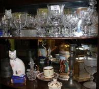 A MIXED GROUP OF GLASSWARE to include two decanters, two Staffordshire style pottery cats Condition:
