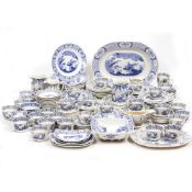 A COLLECTION OF OLD CHELSEA PATTERN POTTERY to include meat plates, cups, saucers, dinner plates, by