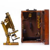 A LATE 19TH CENTURY CONTINENTAL STYLE MICROSCOPE by R & J Beck Limited of London numbered 20939 (