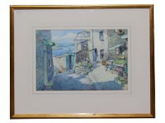 DONALD GREIG (1916-2009) 'Plants for Sale, Salcombe', watercolour, 25cm x 36cm, framed and glazed,