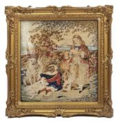 A 19TH CENTURY BERLIN NEEDLEWORK PICTURE depicting children and their dogs under a tree, 56cm x